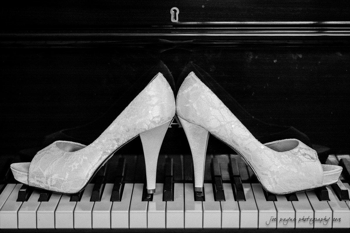 wedding shoes on carolina inn piano