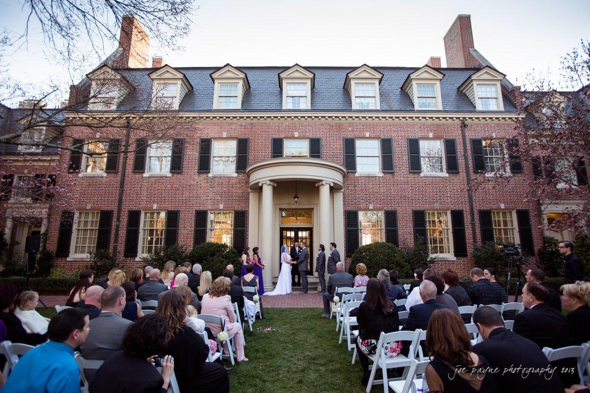 carolina inn wedding courtyard shot