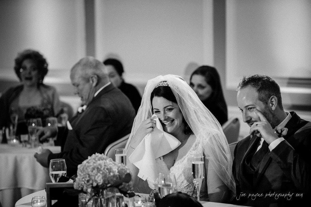 bride and groom during speech