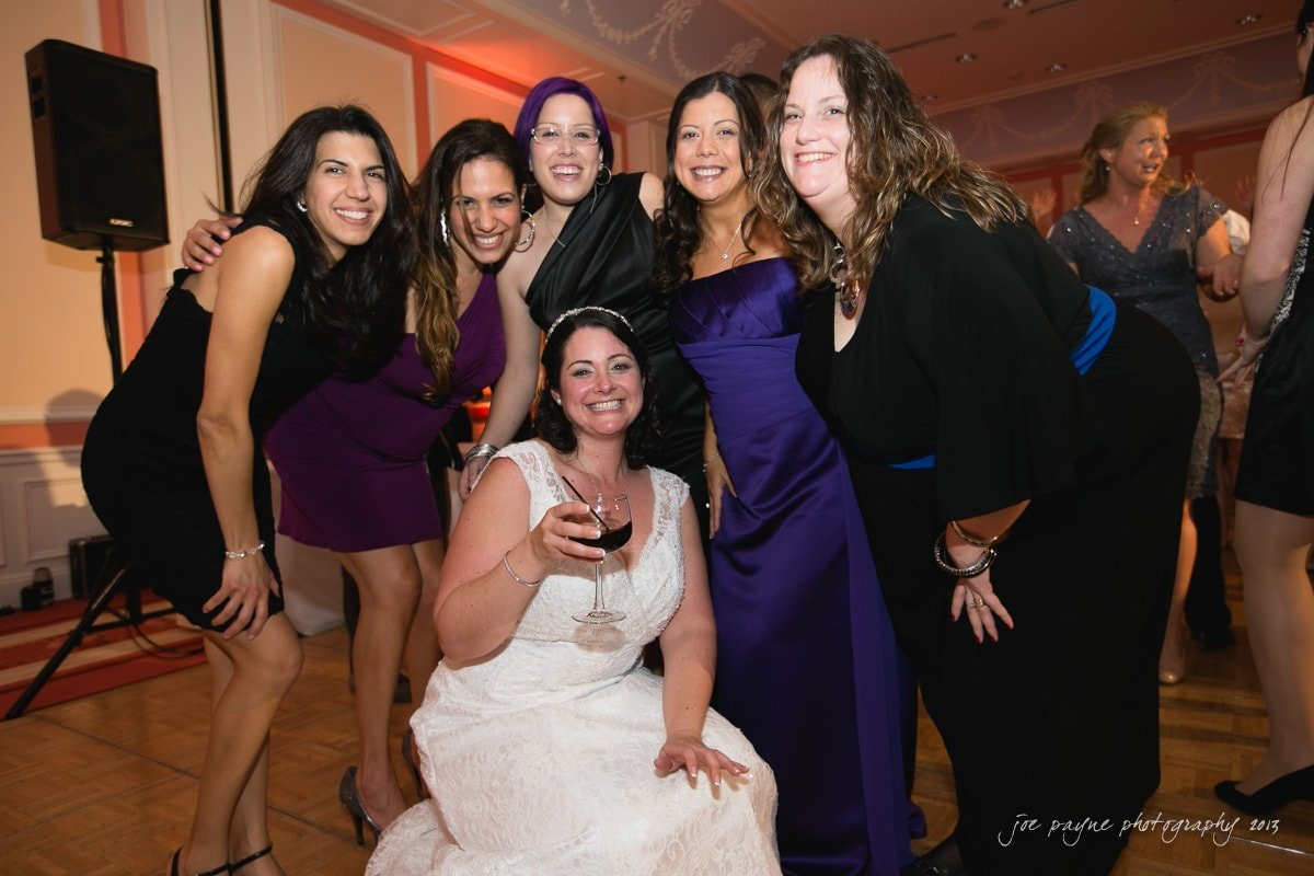 bride and friends at wedding