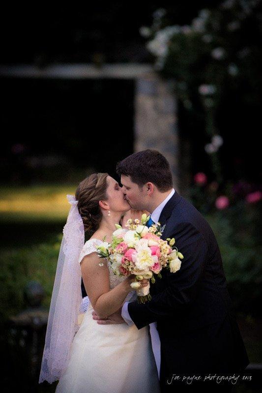 first kiss at raleigh rose garden wedding