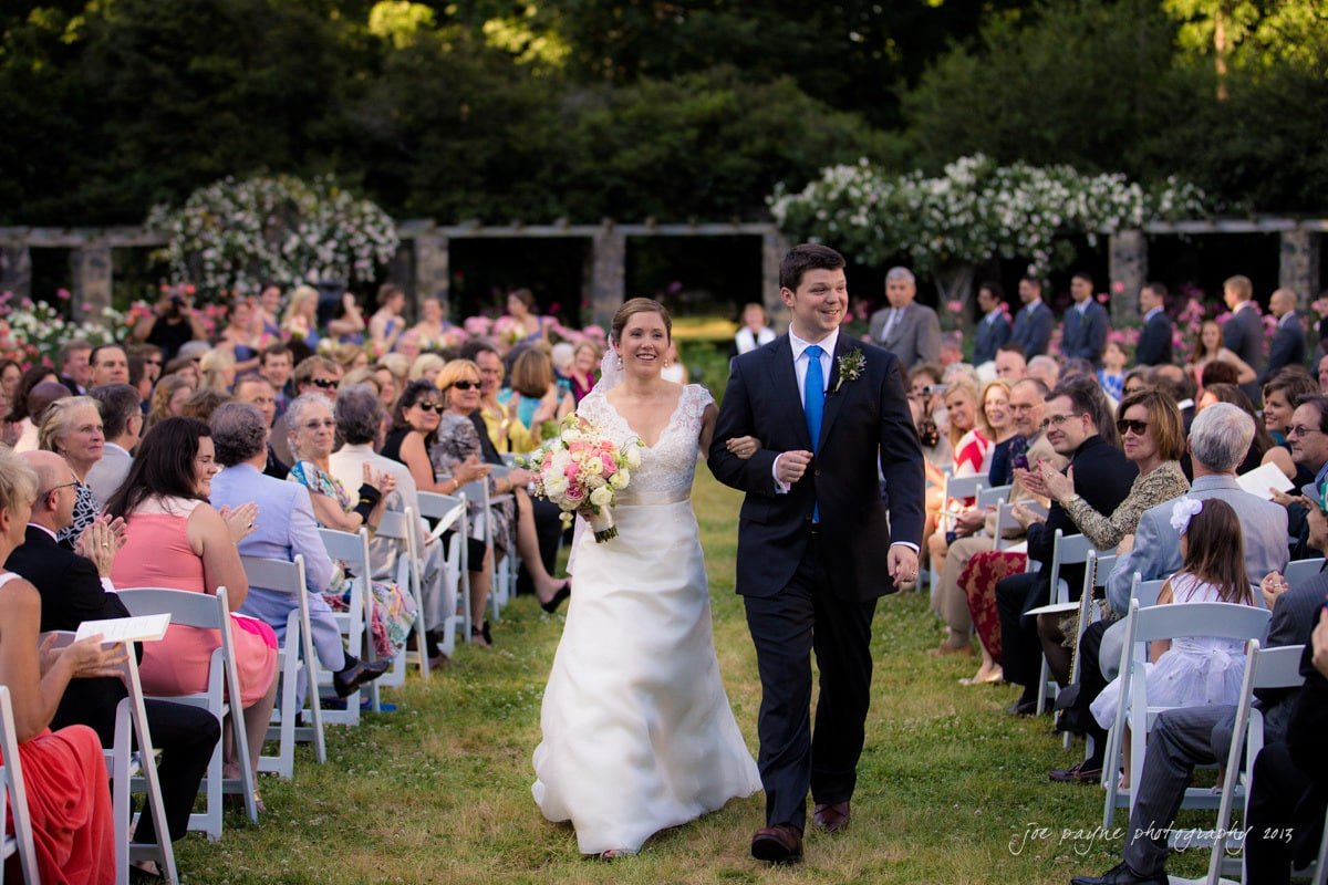wedding recessional at raleigh rose garden