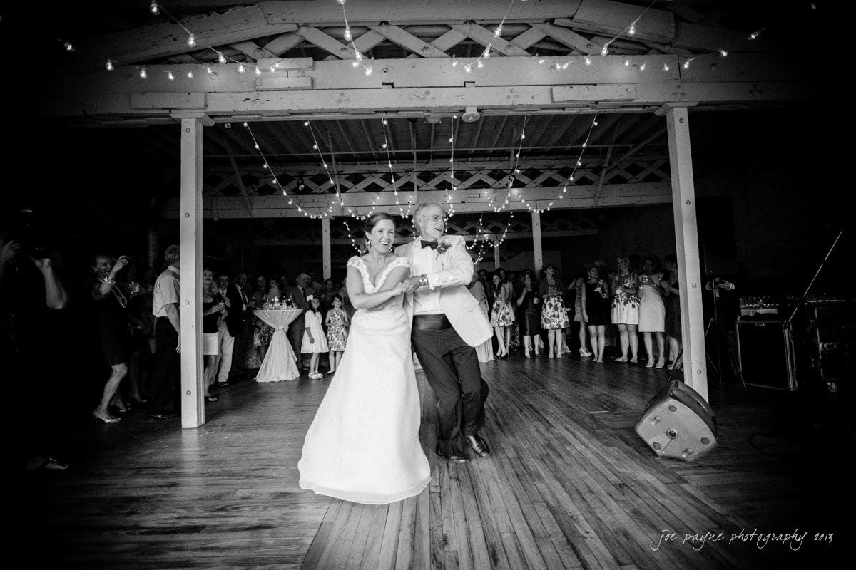 bride and father dance at stockroom, raleigh
