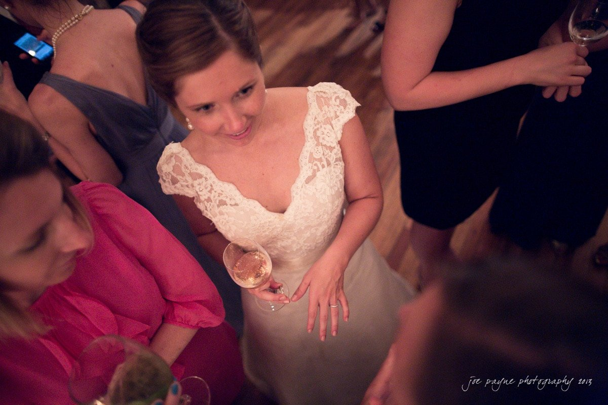 bride shows friends her rings