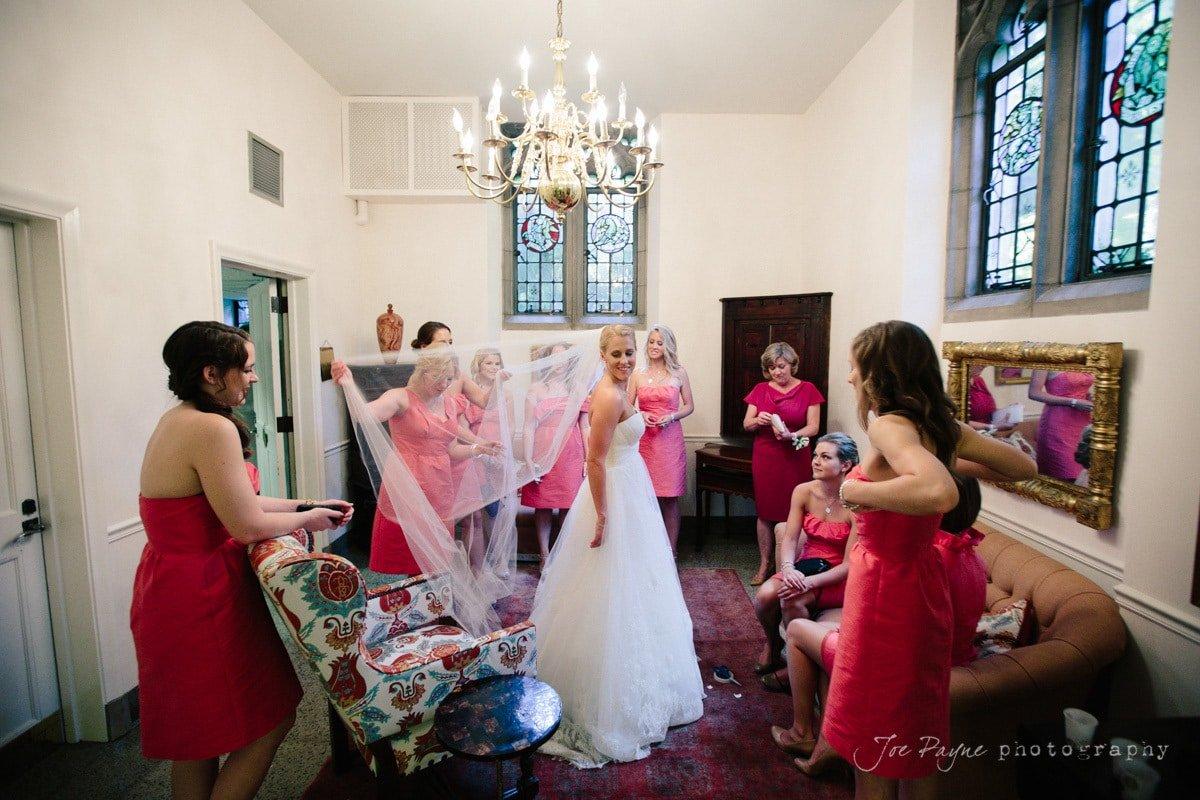 bride gets ready at duke chapel
