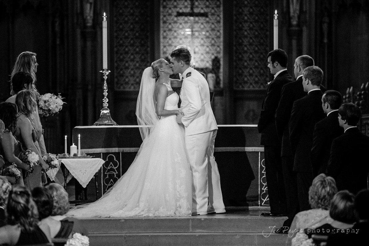 first kiss at duke chapel wedding