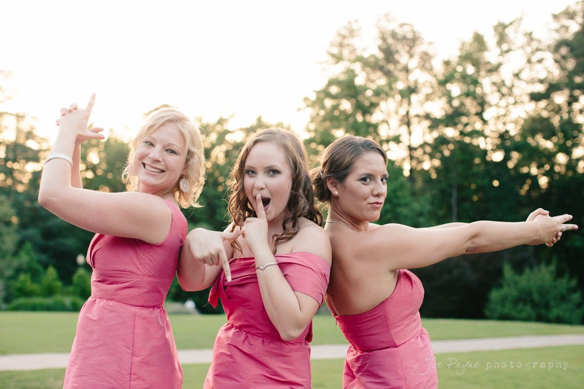 bridesmaids having fun at doris duke center