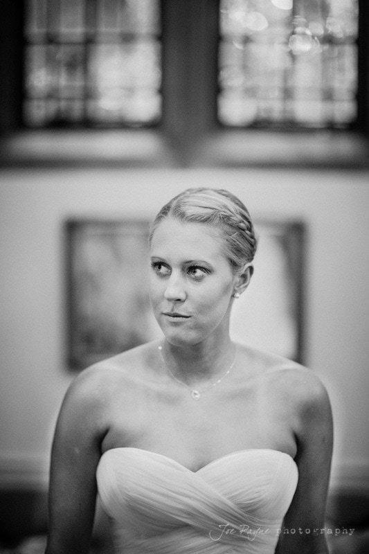 nervous bride ahead of duke chapel wedding