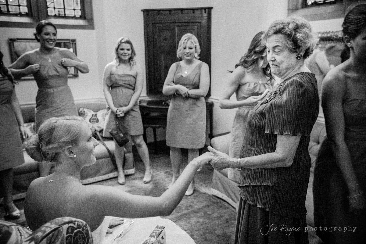 grandmother visits bride before duke chapel wedding