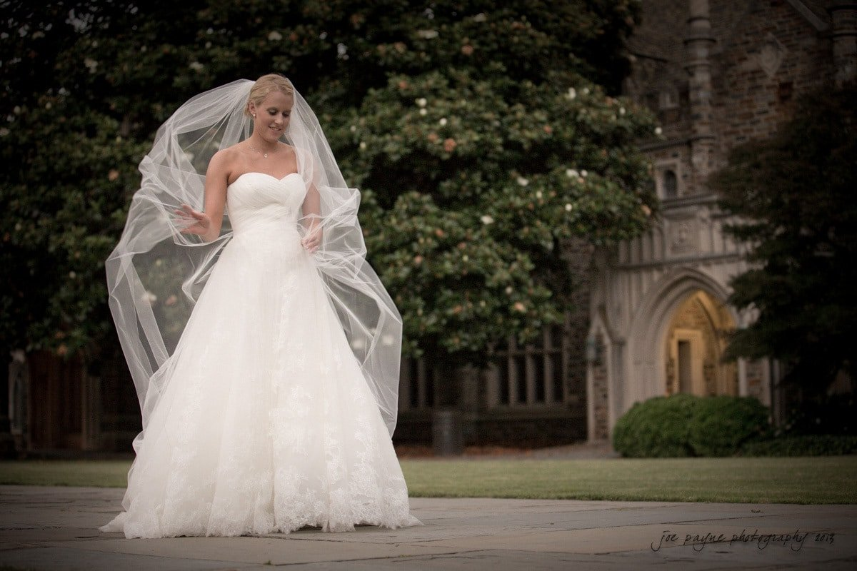 duke chapel bridal photograph with chapel veil