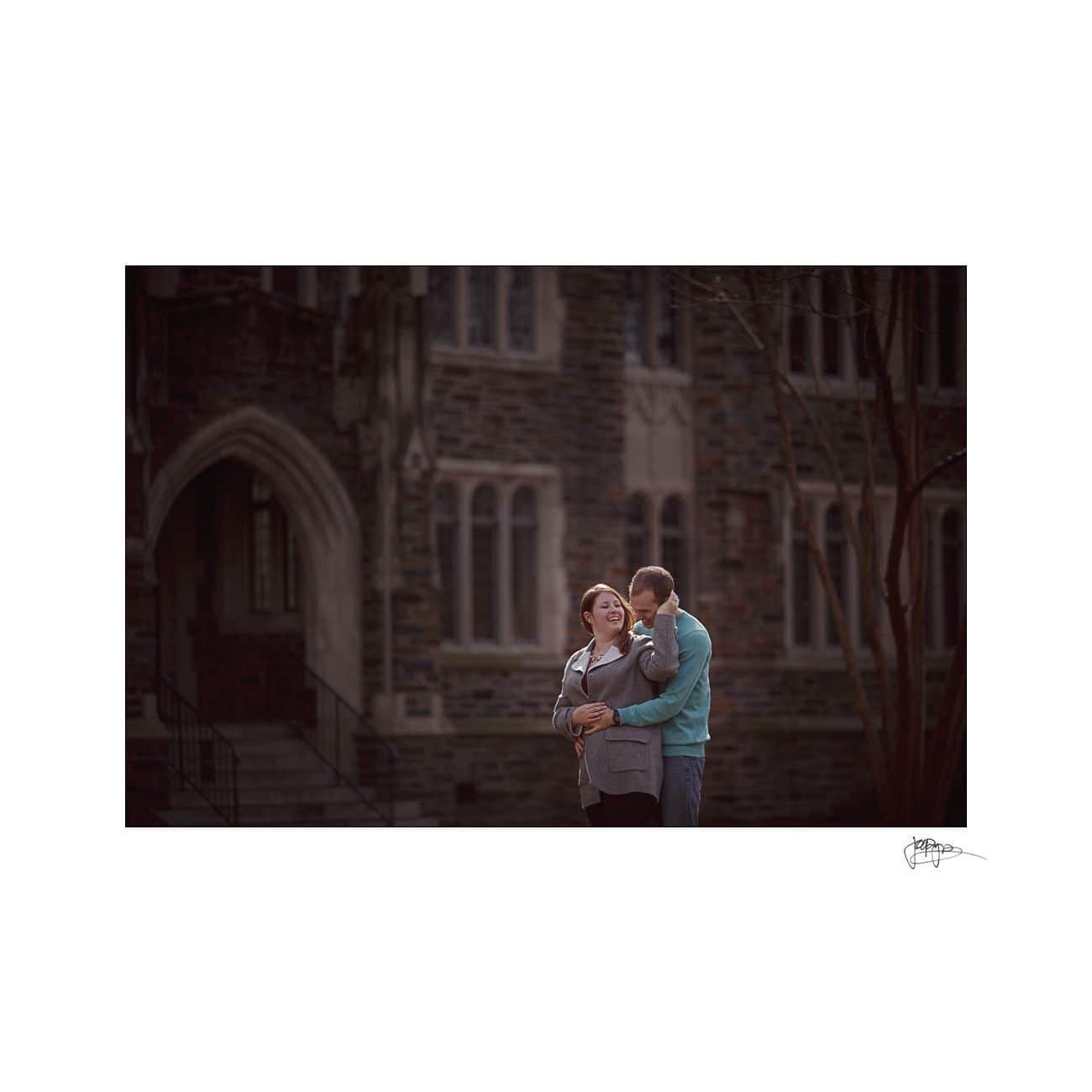 backlit couple at duke campus