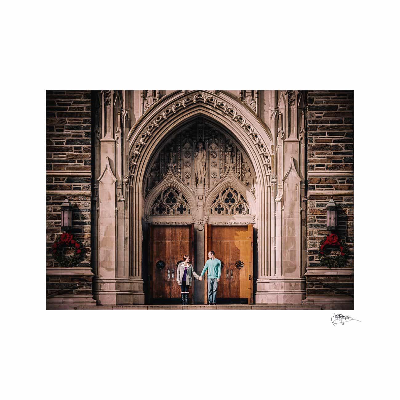 duke chapel doors engaged couple