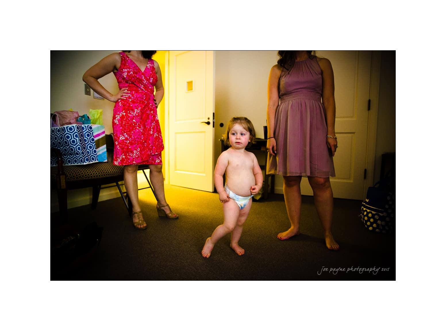 nc wedding photographer cute flower girl in diaper