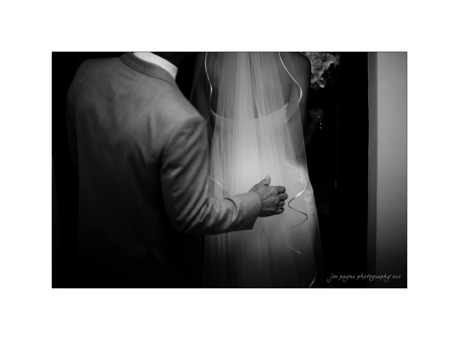 nc wedding photographer dad's hand on brides veil