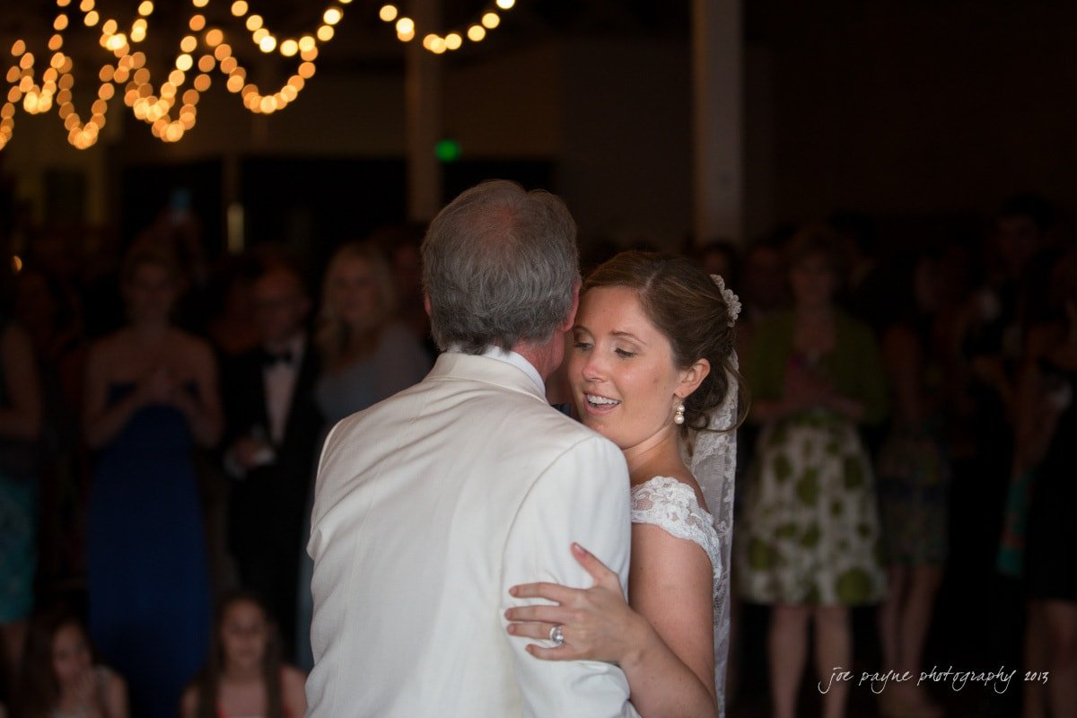 bride dances with her dad at the stockroom raleigh