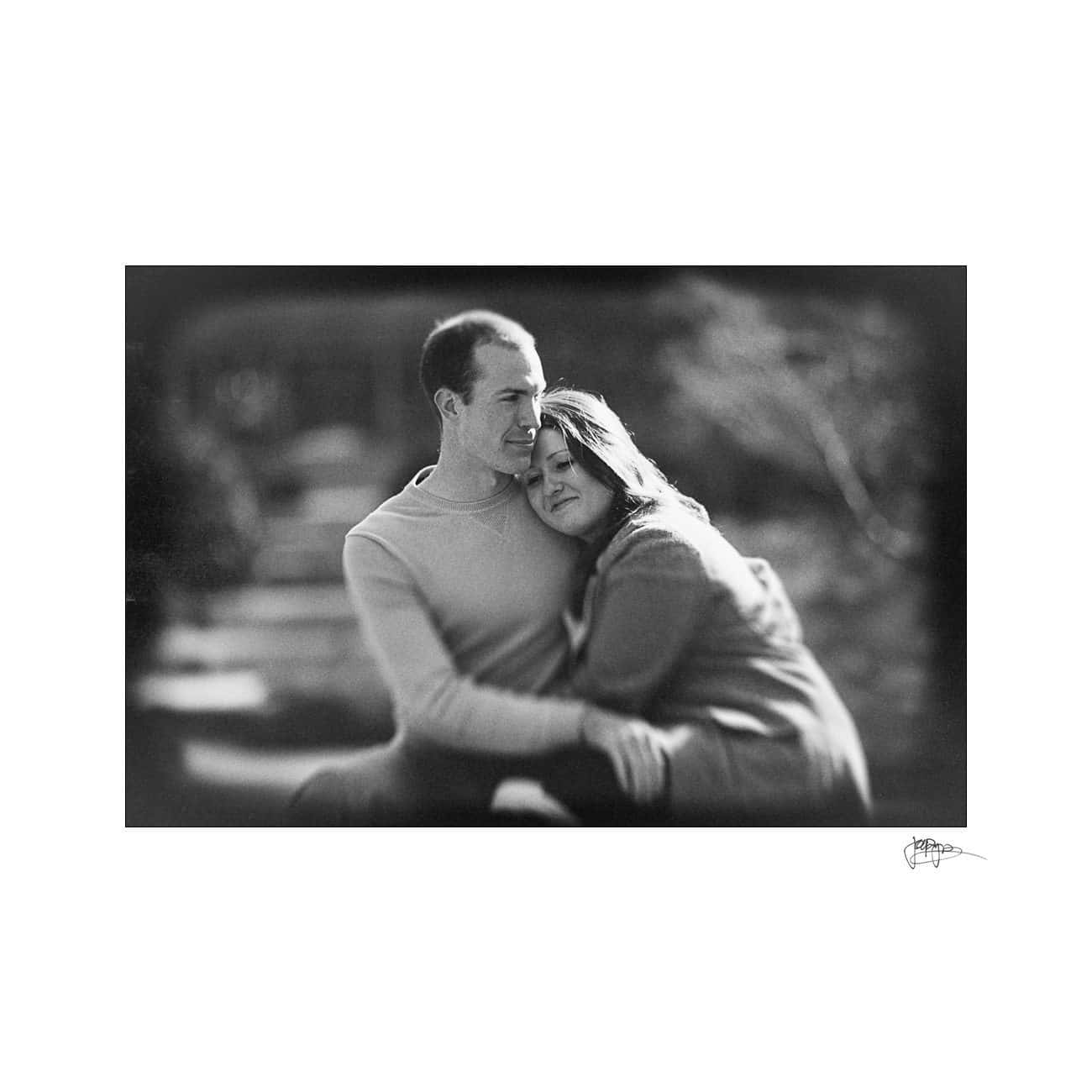 b&w tilt shift engagement portrait
