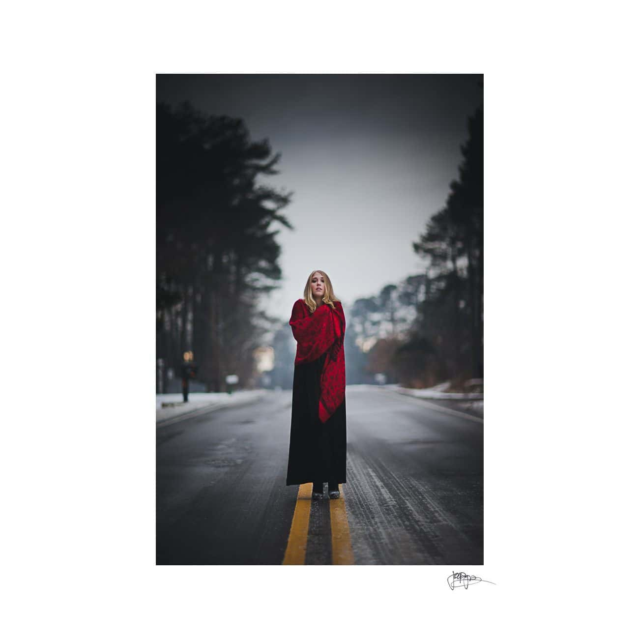 raleigh portrait photographer full length in snow