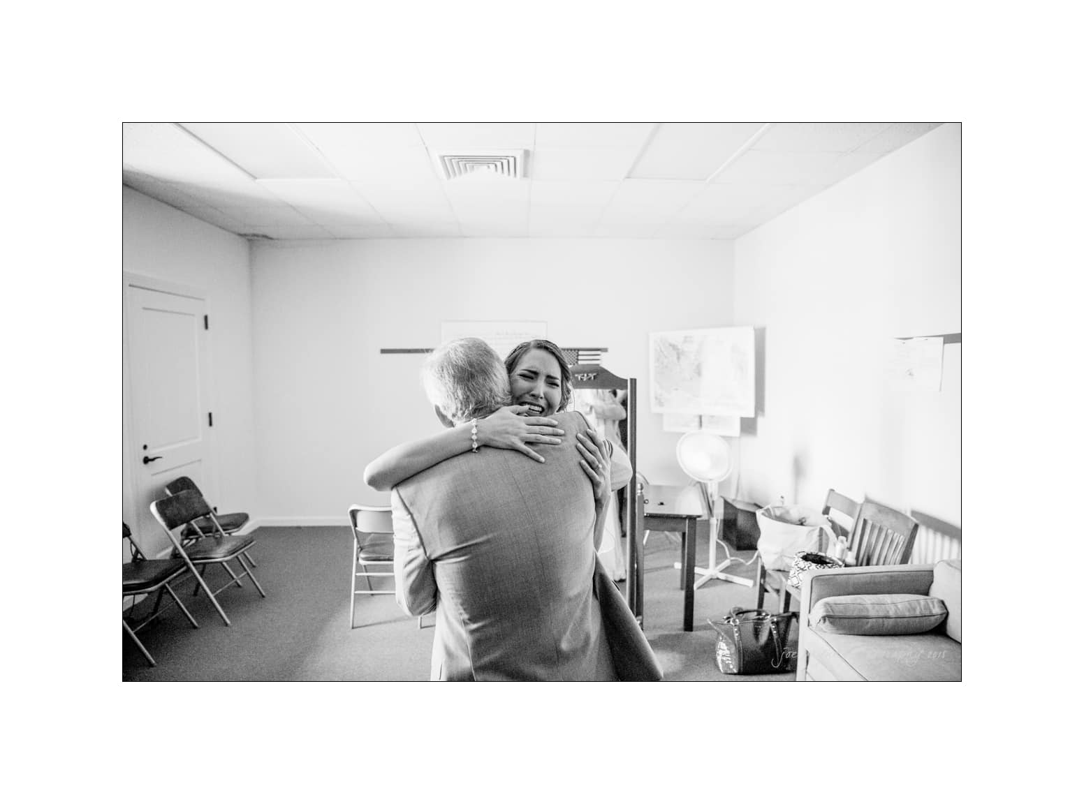 nc wedding photographer emotional first look with dad
