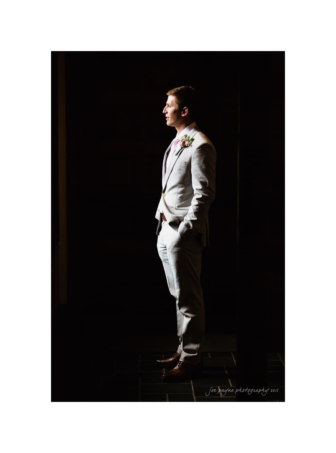 nc wedding photographer natural light groom shot