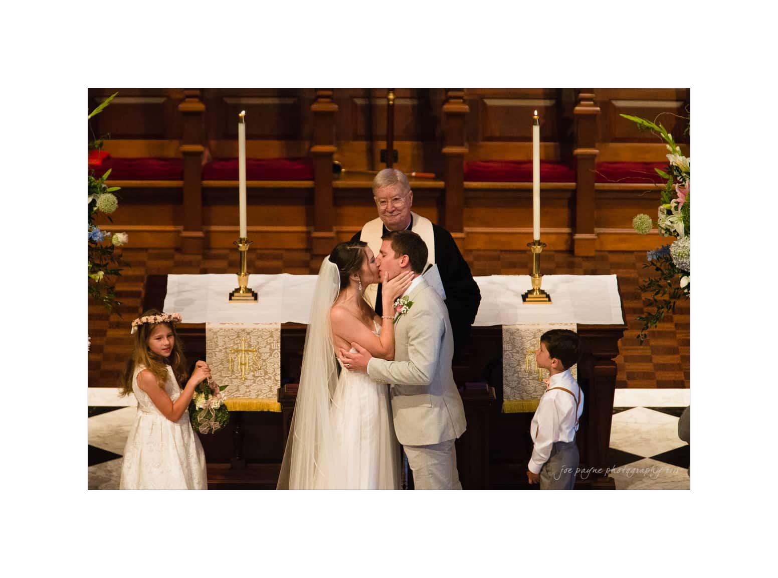 nc wedding photographer first kiss