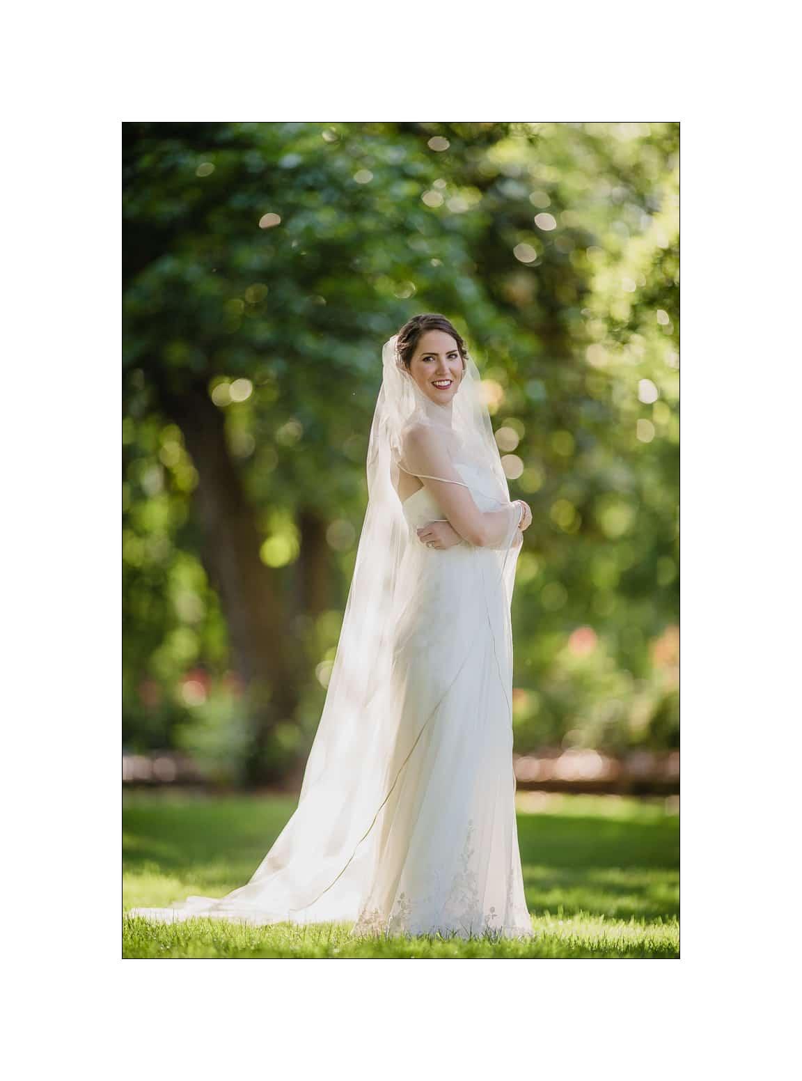 nc wedding photographer bride in sunlight