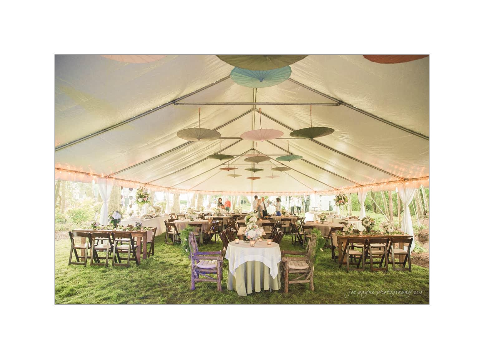 nc wedding photographer backyard reception tent interior