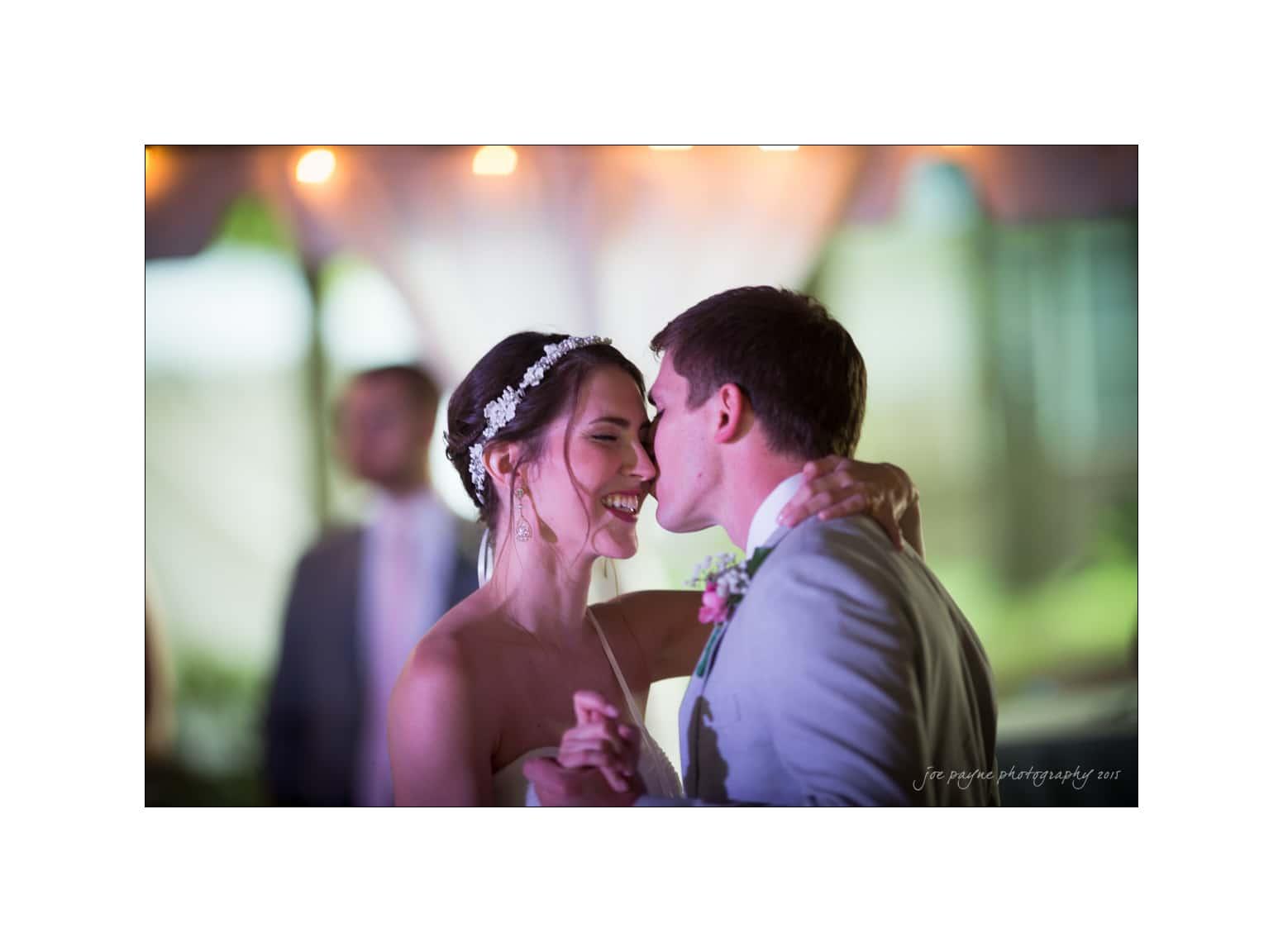 nc wedding photographer first dance kiss