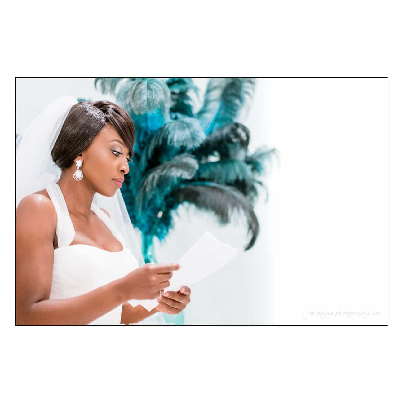 Grand Marquise wedding photography bride reading letter