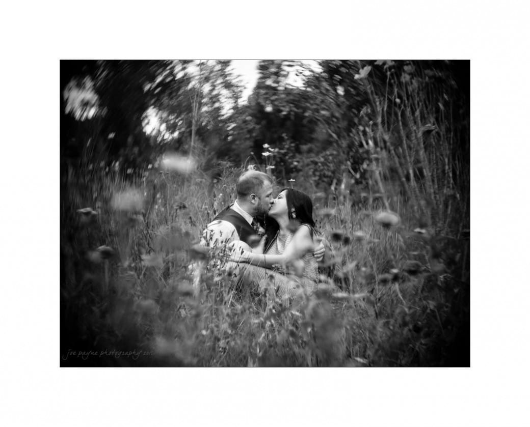 duke gardens engagement photography flower meadow b&w